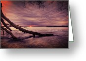 Stormy Sky Greeting Cards - Lake Neatahwanta Greeting Card by Everet Regal