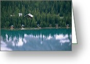 Log Cabins Photo Greeting Cards - Lake Ohara Lodge And Cabins Greeting Card by Michael Melford