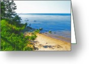Ontario Mixed Media Greeting Cards - Lake Ontario Beach - New York Greeting Card by Steve Ohlsen