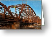 The Mother Road Greeting Cards - Lake Overholser Bridge Greeting Card by Lana Trussell