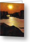 Lakes Pastels Greeting Cards - Lake Powell At Sunset Greeting Card by Frances Marino