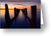 Orange Greeting Cards - Lake Reflection Greeting Card by Chad Dutson