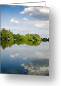 Photo Photo Greeting Cards - LAKE REFLECTION dinton pastures lakes and nature reserve reading berkshire uk Greeting Card by Andy Smy