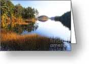 Changing Colors Greeting Cards - Lake Reflections in Acadia Greeting Card by George Oze