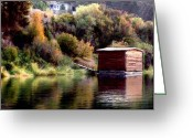 Shed Digital Art Greeting Cards - Lake Shed Greeting Card by Jim Pavelle