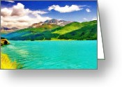 Snow Capped Digital Art Greeting Cards - Lake Sils Greeting Card by Jeff Kolker
