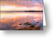 Clods Greeting Cards - Lake Sunrise Greeting Card by Lynn Whitt