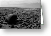 Mitic Greeting Cards - Lake Superrior Rock Black and White Greeting Card by Marko Mitic