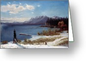 Shore Painting Greeting Cards - Lake Tahoe Greeting Card by Albert Bierstadt