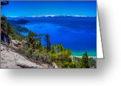 Nevada Greeting Cards - Lake Tahoe from Flume Trail over Sand Harbor State Park Greeting Card by Scott McGuire