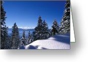 Snow Framed Prints Greeting Cards - Lake Tahoe in Winter Greeting Card by Kathy Yates