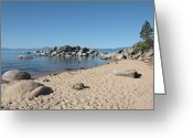 Beach Scene Greeting Cards - Lake Tahoe Morning Greeting Card by Carol Groenen