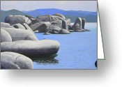 Still Water Greeting Cards - Lake Tahoe Rocky Cove Greeting Card by Frank Wilson