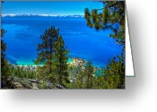 Nevada Greeting Cards - Lake Tahoe Sand Harbor State Park from Flume Trail Greeting Card by Scott McGuire