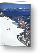 Skiing Greeting Cards - Lake Tahoe Skiing Greeting Card by Vance Fox