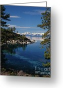 Snow Greeting Cards - Lake Tahoe Smooth Greeting Card by Vance Fox