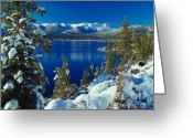Snow Greeting Cards - Lake Tahoe Winter Greeting Card by Vance Fox