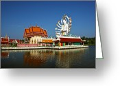 Praying Greeting Cards - Lake Temple Greeting Card by Adrian Evans
