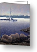 Skylines Painting Greeting Cards - Lake View Greeting Card by Patrick Woods