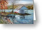 Lake With Reflections Greeting Cards - Lake Waramaug Autumn Greeting Card by B Rossitto