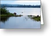 Ontario Mixed Media Greeting Cards - Lake west of Wawa Greeting Card by Bruce Ritchie