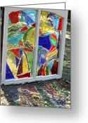 Window Glass Art Greeting Cards - Lake Window Greeting Card by Pat Purdy