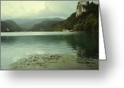 Lake Bohinj Greeting Cards - Lake with church and castle Greeting Card by Jean Purgaj