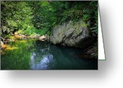 Bright Sky Pyrography Greeting Cards - Lake With Rocks In The Mountain Greeting Card by Radoslav Nedelchev