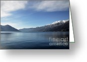 Snow Capped Greeting Cards - Lake With Snow-capped Mountain Greeting Card by Mats Silvan