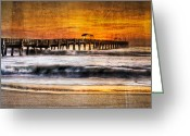 Florida Bridge Greeting Cards - Lake Worth Pier Greeting Card by Debra and Dave Vanderlaan