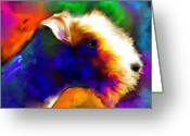 Dog Prints Greeting Cards - Lakeland terrier dog painting print Greeting Card by Svetlana Novikova