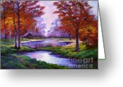 Featured Artist Painting Greeting Cards - Lakeside Cabin Greeting Card by David Lloyd Glover