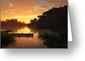 Peach Greeting Cards - Lakeside Greeting Card by Cynthia Decker