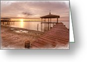 Gazebo Greeting Cards - Lakeside Greeting Card by Debra and Dave Vanderlaan