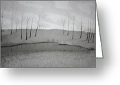 Photo-realism Greeting Cards - Lakeside in Ink Greeting Card by Stacy Bottoms