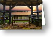 Gazebo Greeting Cards - Lakeside Serenity Greeting Card by Debra and Dave Vanderlaan