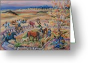 Riders Greeting Cards - Lakota Dream for the Children on the Reservations Greeting Card by Dawn Senior-Trask