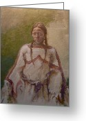 Peoples Greeting Cards - Lakota Woman Greeting Card by Ellen Dreibelbis