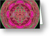 Goddess Posters Greeting Cards - Lakshmi Yantra Mandala Greeting Card by Svahha Devi