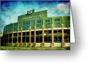 Aaron Greeting Cards - Lalalalala Lambeau Greeting Card by Joel Witmeyer