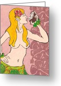 Tropical Island Pastels Greeting Cards - Lalama Hula Girl Greeting Card by William Depaula