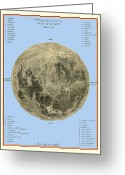 Text Map Photo Greeting Cards - Lalandes Moon Map, 1772 Greeting Card by Detlev Van Ravenswaay
