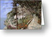 Shadow Painting Greeting Cards - Lalbergo dei cappuccini-Costiera Amalfitana Greeting Card by Guido Borelli
