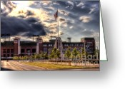 Aaron Greeting Cards - Lambeau Field Awakes Greeting Card by Joel Witmeyer