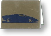 Italian Classic Cars Greeting Cards - Lamborghini Countach Greeting Card by Irina  March