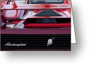 Car Photographs Greeting Cards - Lamborghini Rear View Greeting Card by Jill Reger