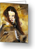 Native Portraits Greeting Cards - Lament Greeting Card by J W Baker