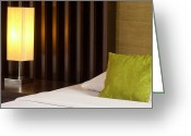Indoors Home Greeting Cards - Lamp And Bed Greeting Card by Atiketta Sangasaeng