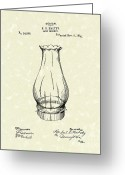 Oil Lamp Greeting Cards - Lamp Chimney 1895 Patent Art Greeting Card by Prior Art Design