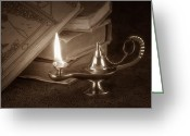 Knowledge Greeting Cards - Lamp of Learning Greeting Card by Tom Mc Nemar